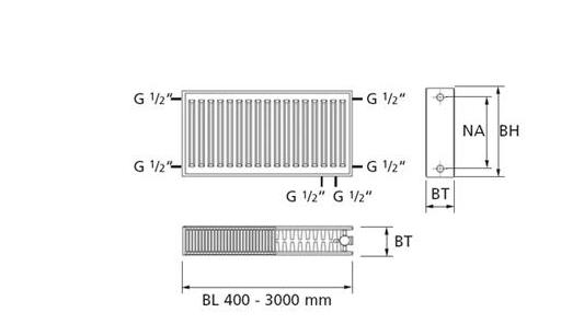 Purmo Standkonsole f.Heizkörper Fertigfußboden Bauhöhe 200 mm oder 300 mm Set